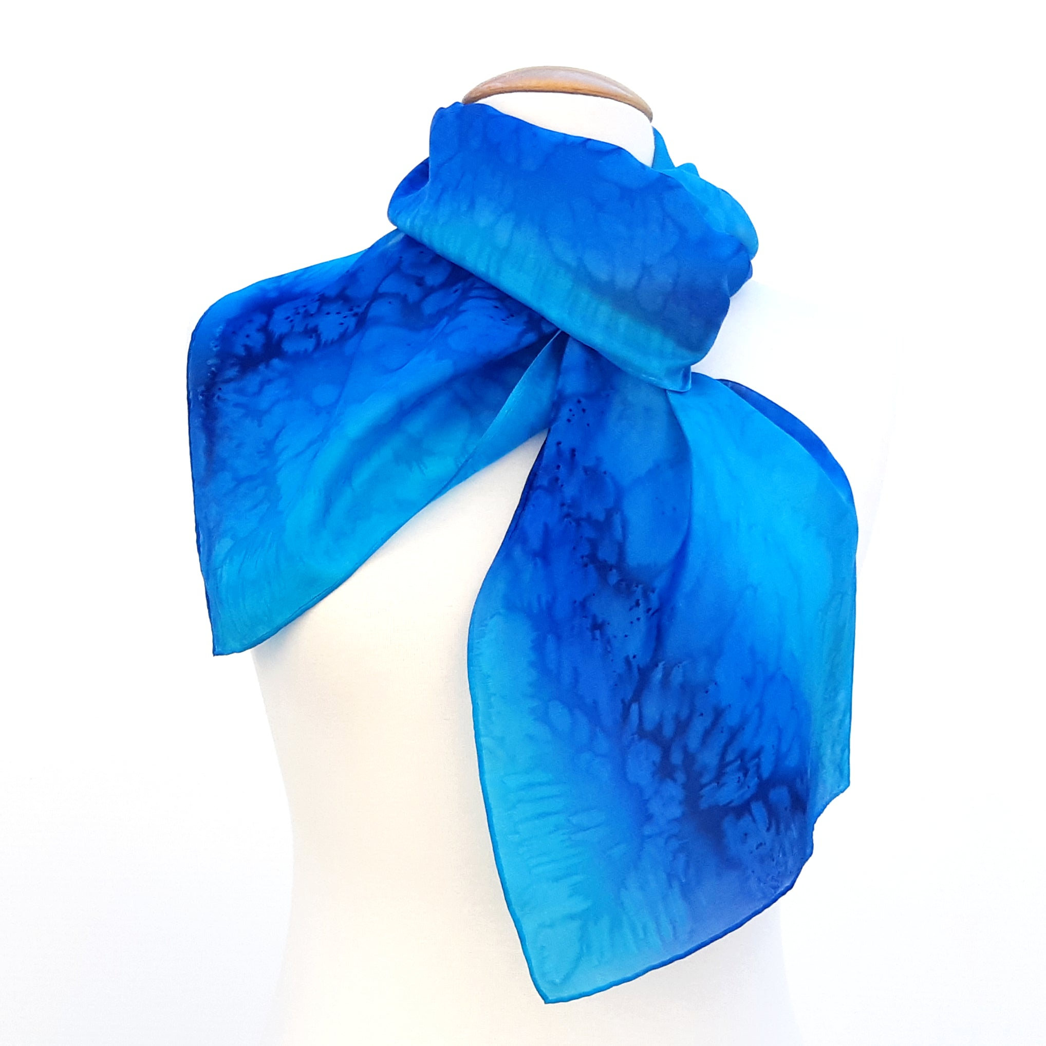 painted silk long scarf for women blue