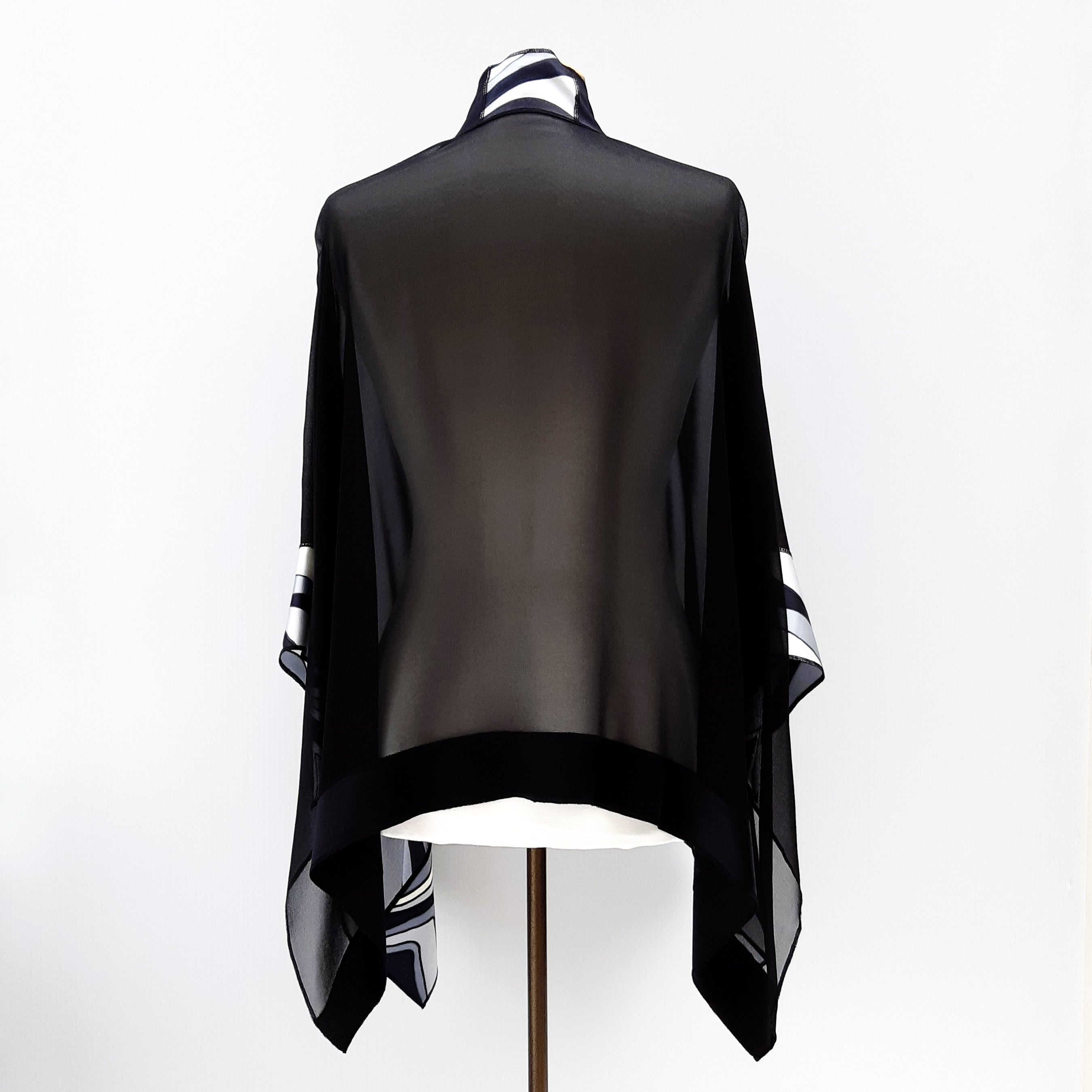 Painted silk shawl sheer black