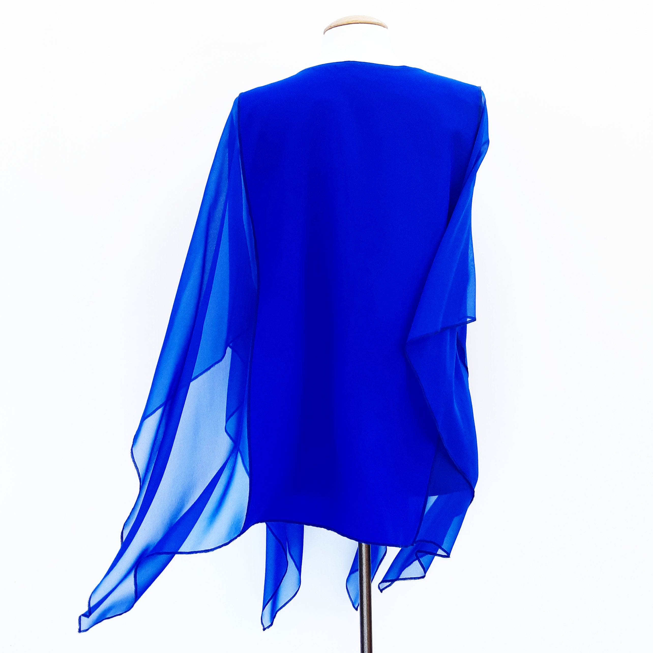 blouse poncho back blue silk