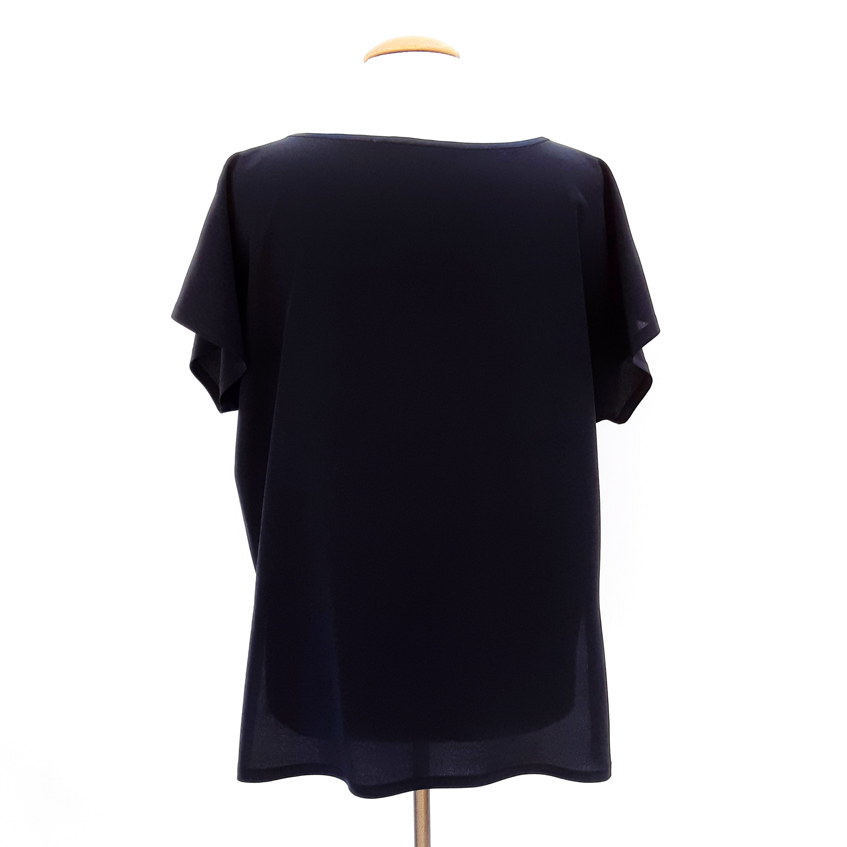 painted silk t-top for women black