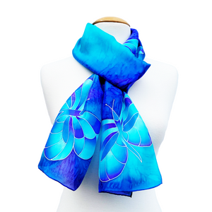 silk clothing hand painted silk scarf blue color butterflies art design made by Lynne Kiel
