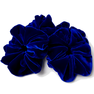 oversized blue velvet scrunchies for hair