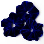 Load image into Gallery viewer, blue velvet scrunchies for yoga
