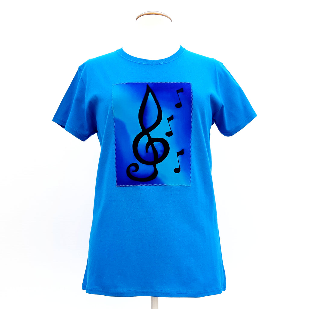 t-shirt turquoise treble clef music notes art hand painted
