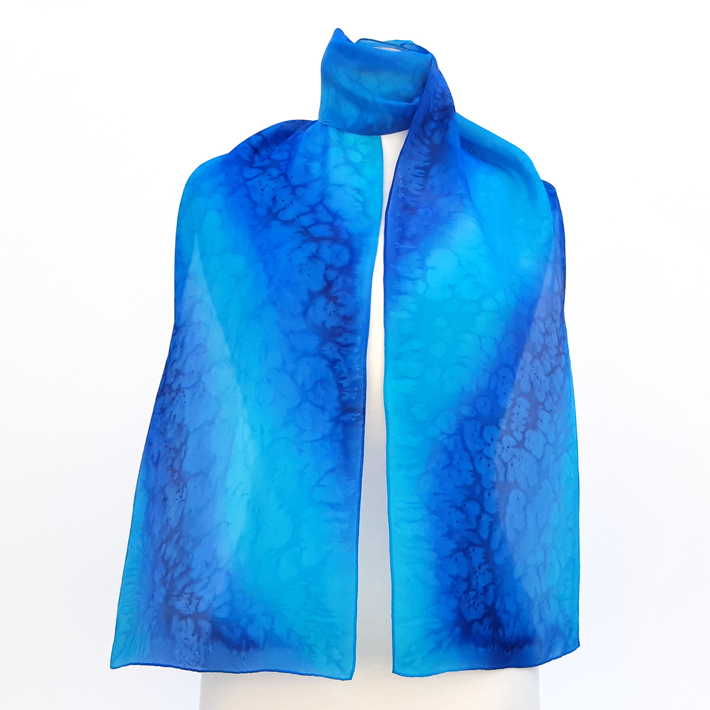 Painted silk blue scarf
