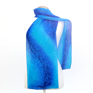 painted silk design silk scarf blue