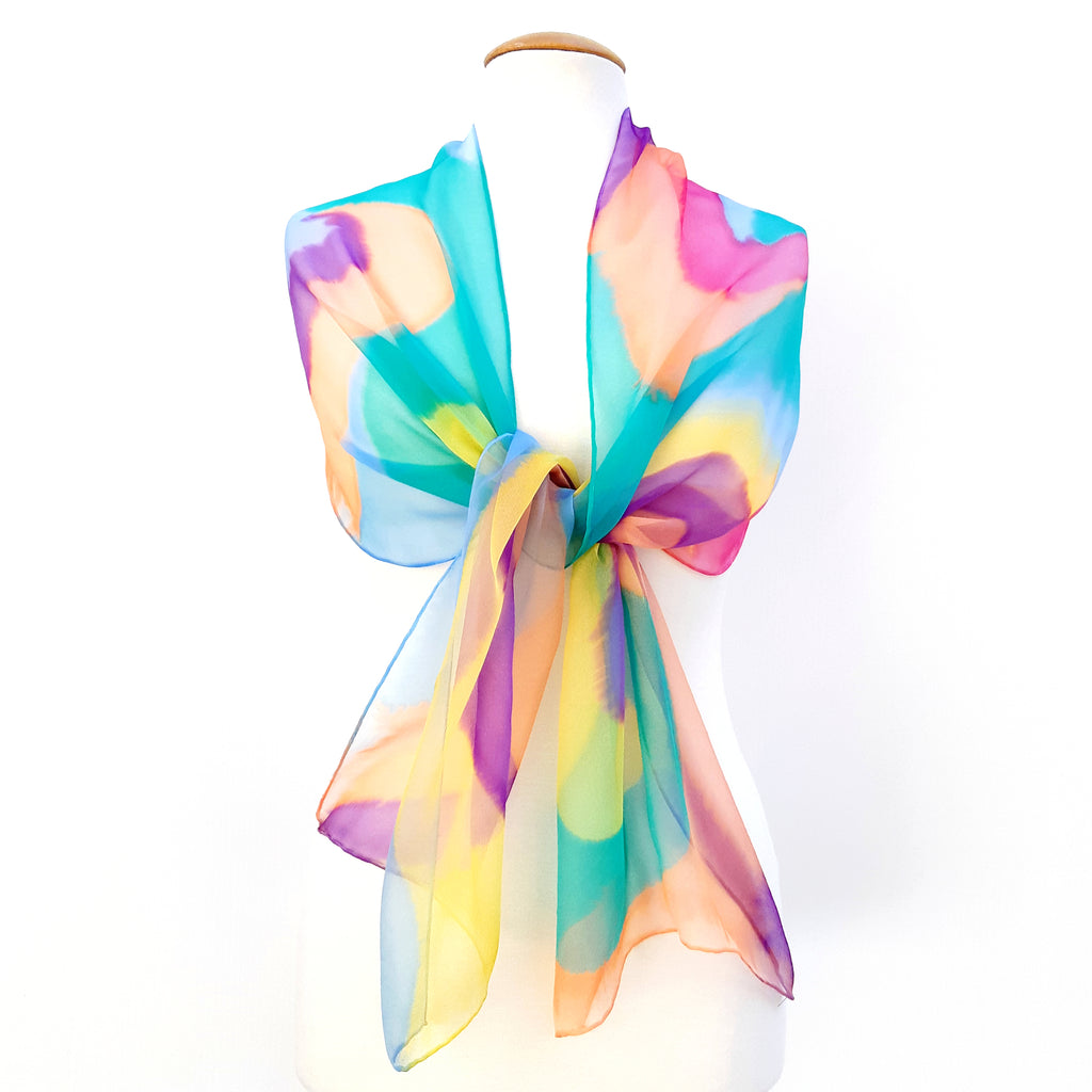 painted silk chiffon scarf
