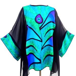 painted silk design silk long top for women made by Lynne Kiel