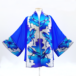 Load image into Gallery viewer, painted silk blue kimono top