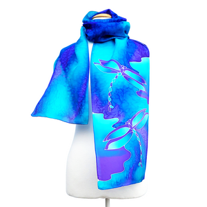 silk clothing long silk scarf for women blue color hand painted dragonfly art design made by Lynne Kiel