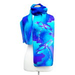 Load image into Gallery viewer, Dragonfly silk scarf hand painted blue purple color handmade by Lynne Kiel