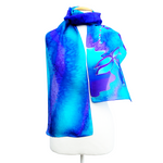 Load image into Gallery viewer, blue silk scarf for women hand painted purple blue dragonfly art design handmade by Lynne Kiel