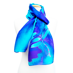 TWILIGHT BLUE Dragonflies Hand Painted Silk Scarf for Mothers Day Gift