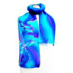Load image into Gallery viewer, silk clothing hand painted scarf blue dragonflies art design made in Canada by Lynne Kiel