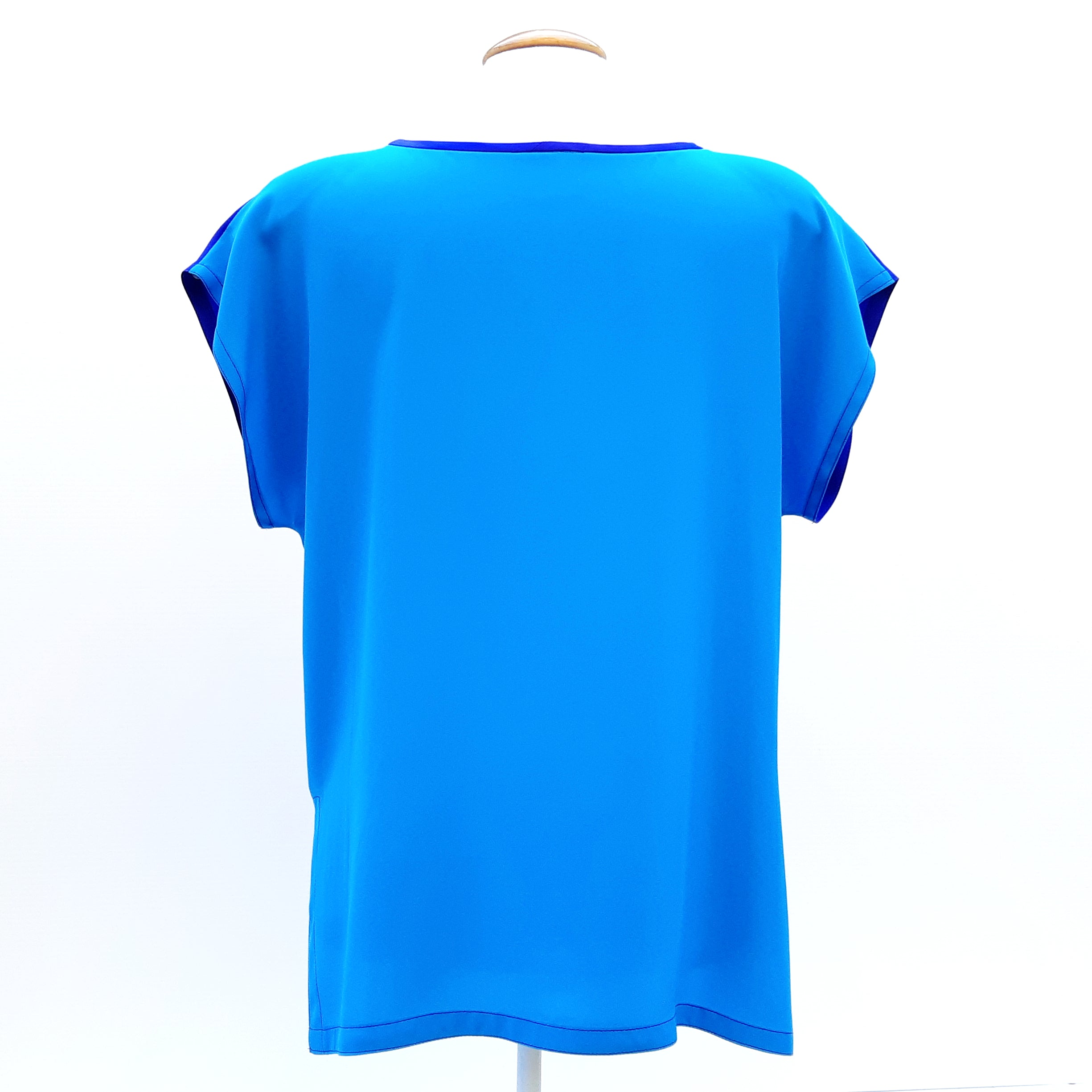 painted silk short sleeve top
