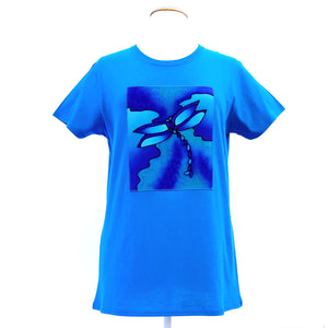 turquoise blue cotton semi fitted t-shirt