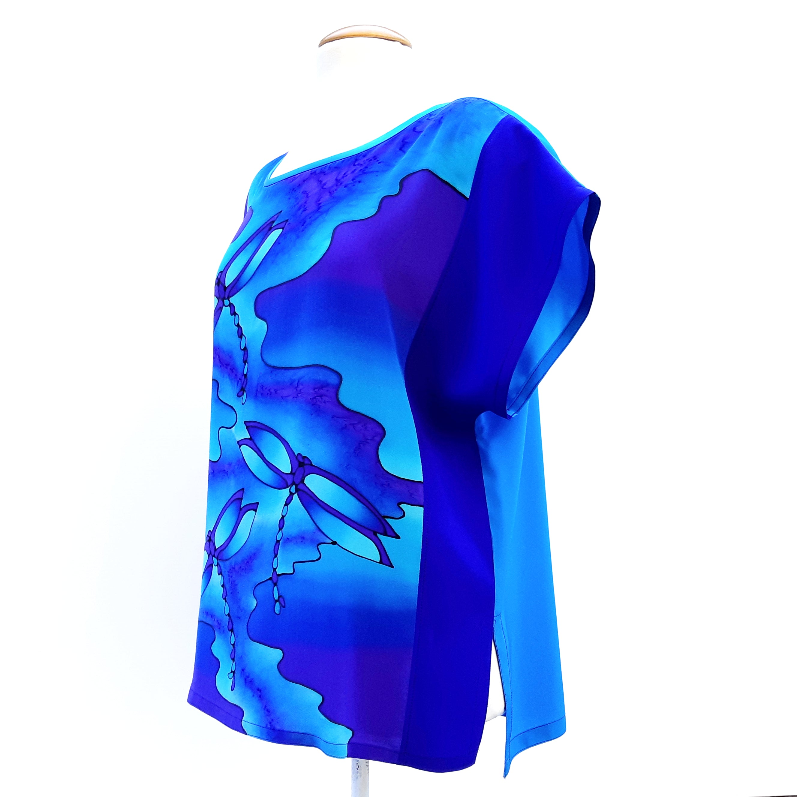Painted silk t-top for women turquoise blue