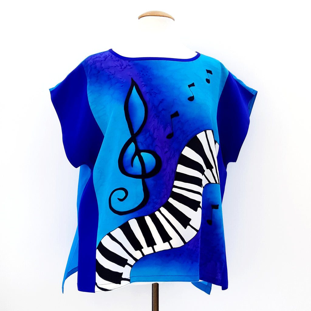 painted silk ladies top blue