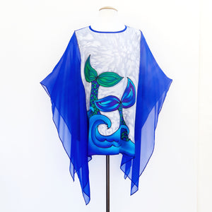 Blouse Mermaid Tails blue silver hand painted