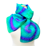 Load image into Gallery viewer, Tie dye long silk scarf green and purple colors handmade in Canada by Lynne Kiel
