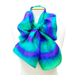 Load image into Gallery viewer, silk clothing  scarf accessory hand painted silk green purple tie dye handmade by Lynne Kiel