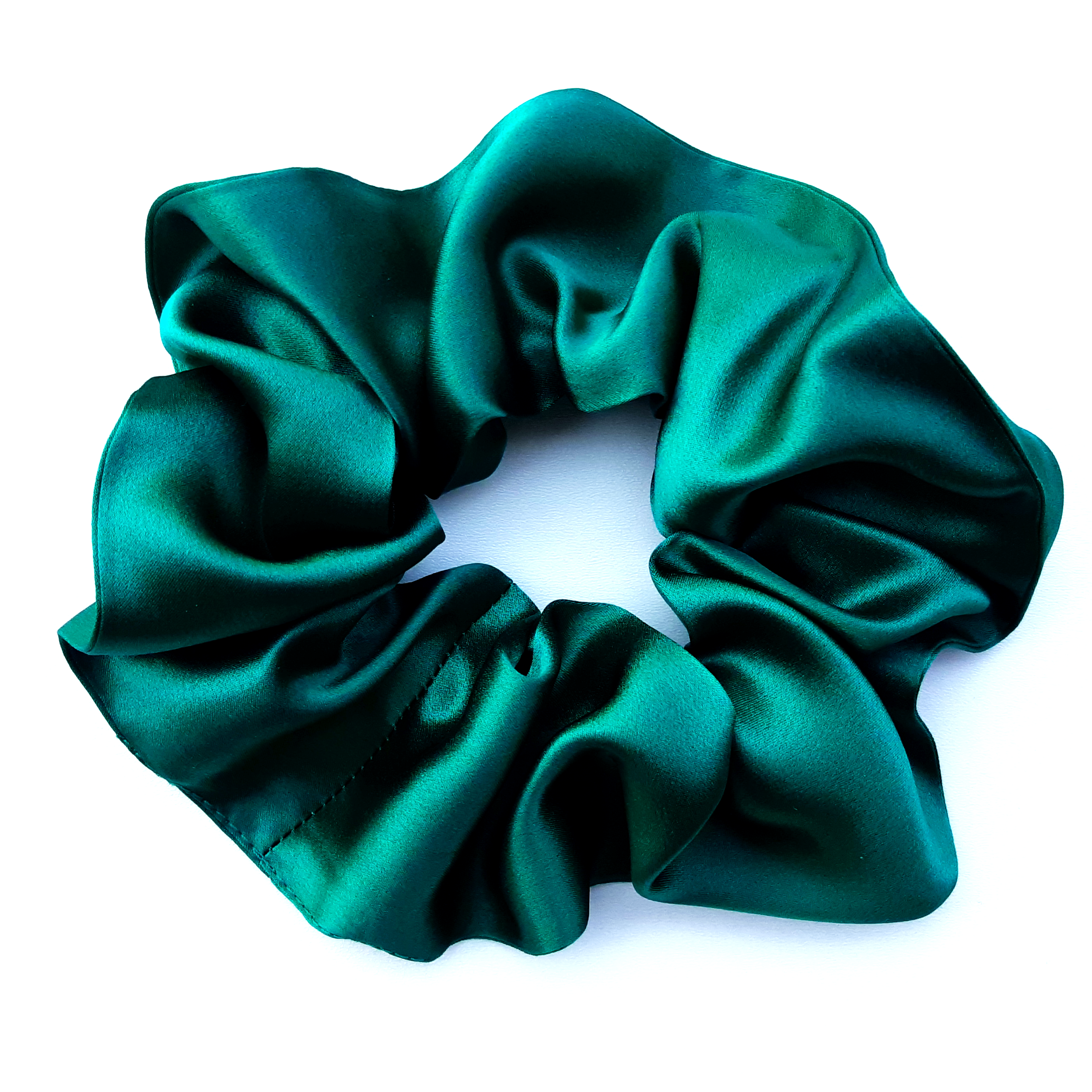 green silk large scrunchies hair accessory for yoga