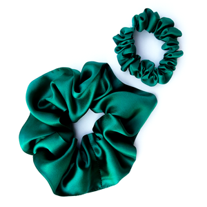 Shamrock Irish Green silk fashion scrunchies for hair