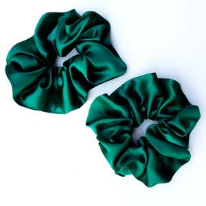 green silk scrunchie hair tie elastic tie hair accessory