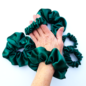 green silk scrunchies for hair and pony tails made by Lynne Kiel