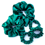Load image into Gallery viewer, emerald green silk satin scrunchies for exerciseand sleeping
