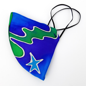 SHOOTING STAR BLUE SPACE ODDITY Hand Painted Silk Face Mask Washable