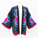 Load image into Gallery viewer, painted silk kimono black