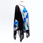 Load image into Gallery viewer, painted pure silk black caftan top one size ladies fashion top made by Lynne Kiel