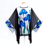 Load image into Gallery viewer, Blue iris flowers hand painted silk caftan top black and silver one size made in Canada