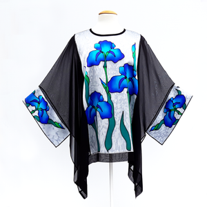 Blue iris flowers hand painted silk caftan top black and silver one size made in Canada