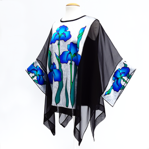 one size hand painted iris flowers black caftan top hand painted blue silk made by Lynne Kiel