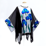 Load image into Gallery viewer, caftan top black silk one size cruise wear and wedding wear made in Canada