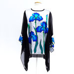 Load image into Gallery viewer, painted silk iris flower caftan top one size for women handmade by Lynne Kiel