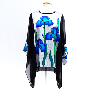painted silk iris flower caftan top one size for women handmade by Lynne Kiel