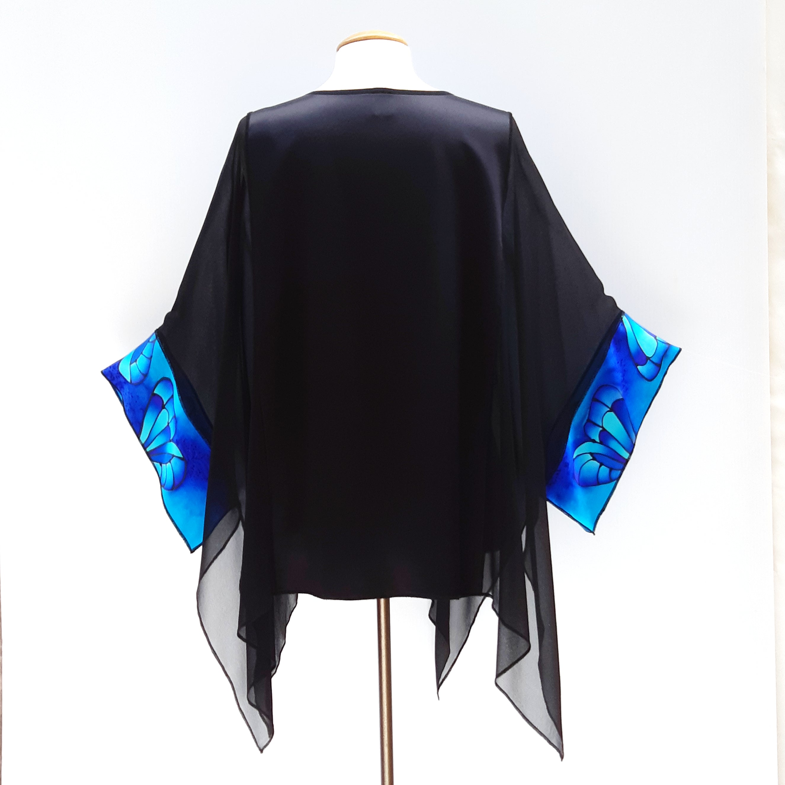 sheer top black painted silk