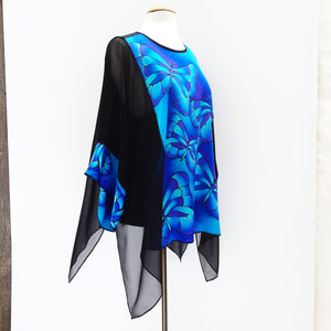 painted silk plus size ladies blue