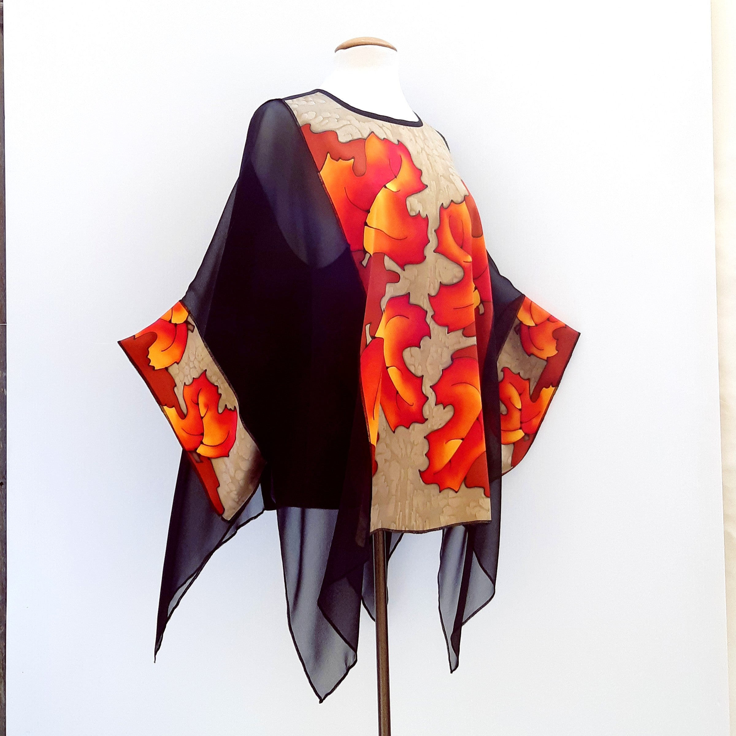 Kimono top painted silk black beige orange
