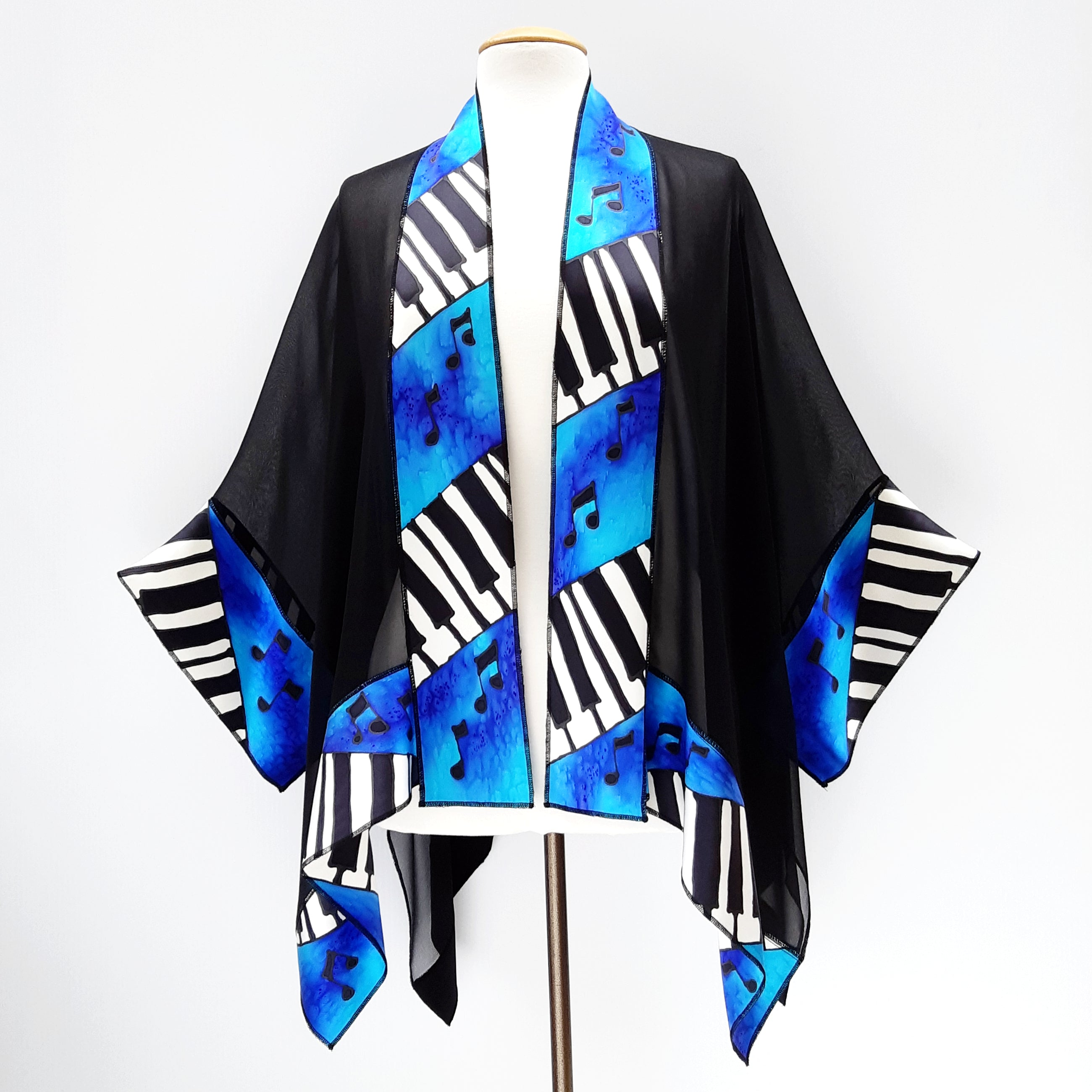 kimono jacket silk painted piano art blue turquoise