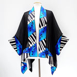 Load image into Gallery viewer, kimono jacket silk painted piano art blue turquoise