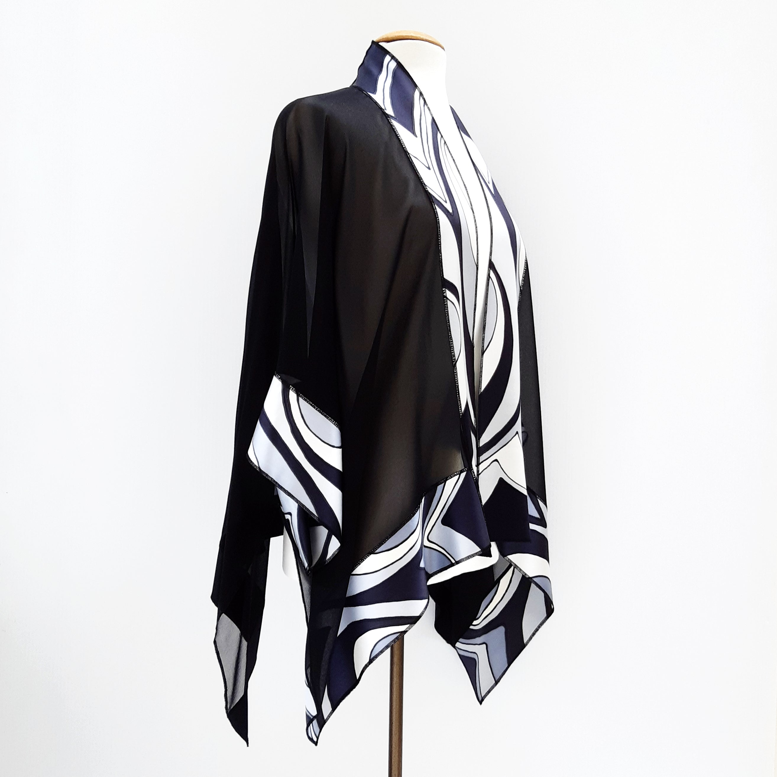 Shawl ABSTRACT BLACK & WHITE silver hand painted pure silk kimono