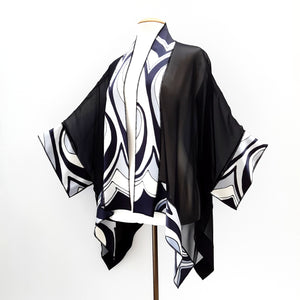 painted silk sheer black shawl