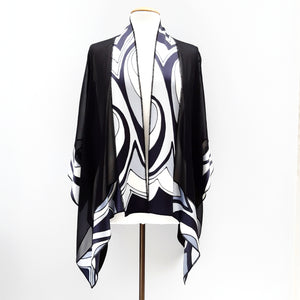 Painted silk shawl black white