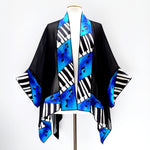 Load image into Gallery viewer, kimono piano shawl blue black one size