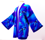 Load image into Gallery viewer, DRAGONFLIES in FLIGHT Blue Kimono Hand Painted Silk Wearable Art