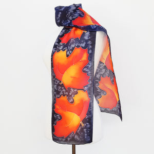 painted silk design scarves Maple leaf art